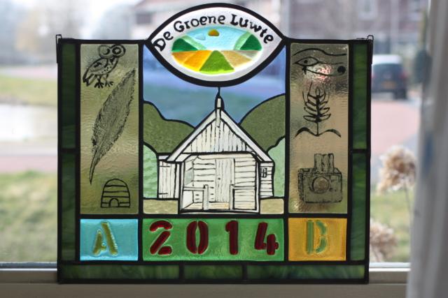 Glazen paneel dmv glasfusing fusion gemaakt in opdracht van De groene Luwte