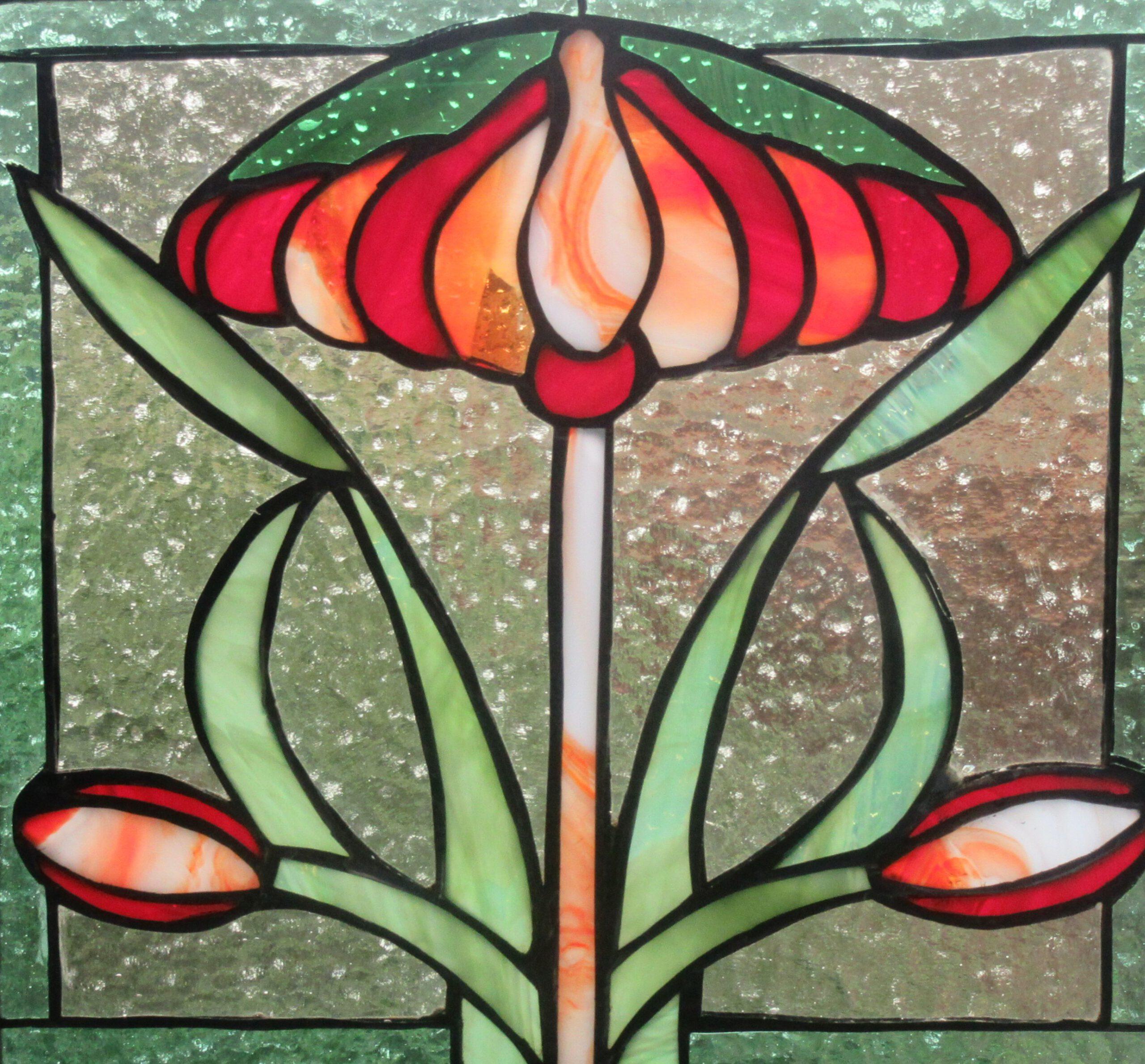 Glazen Tiffany Paneel in ons atelier gemaakt