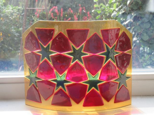 Glazen vaas dmv glasfusing fusion gemaakt, Glaskunst