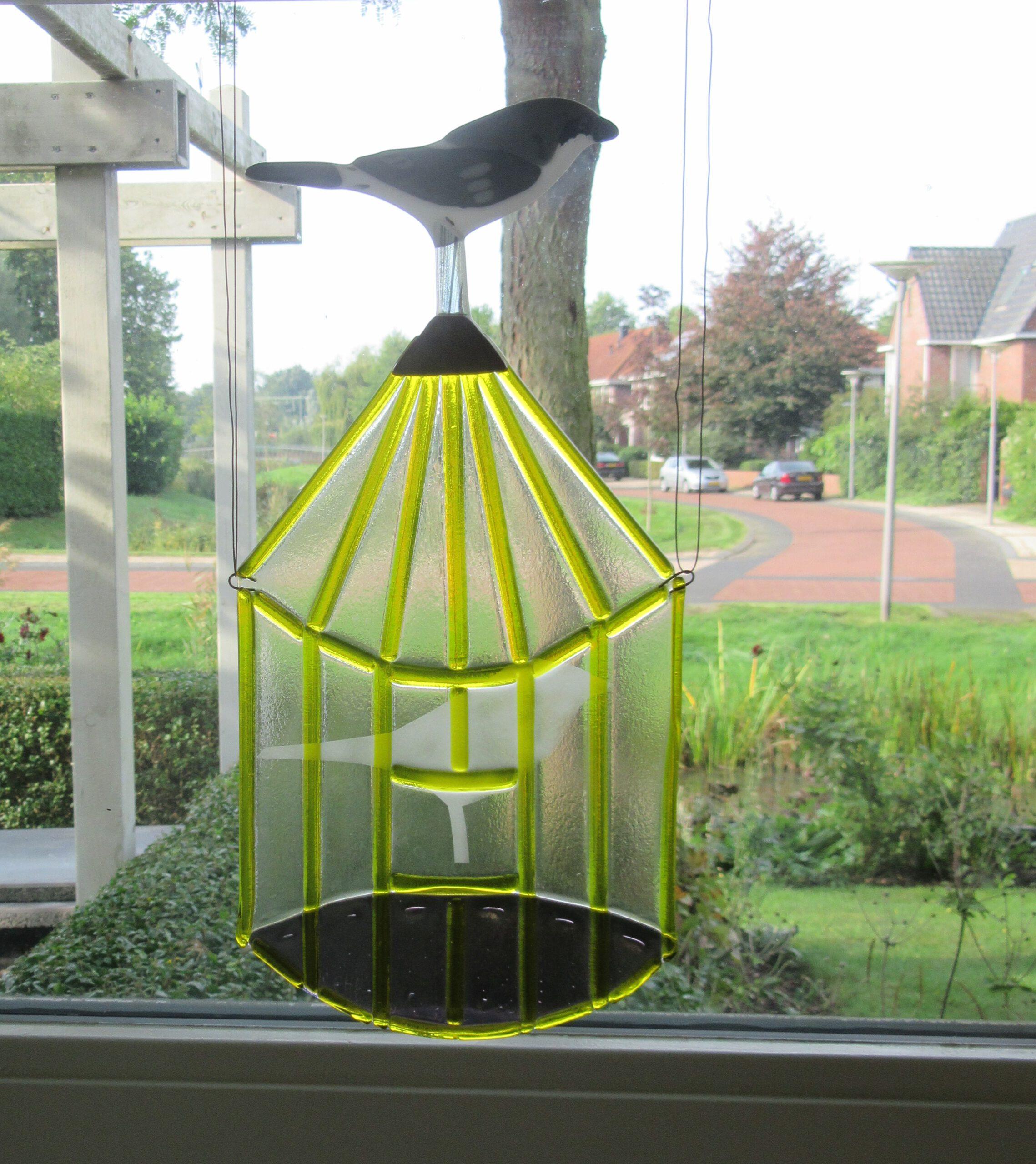 Glazen raamdecoratie dmv glasfusing fusion gemaakt