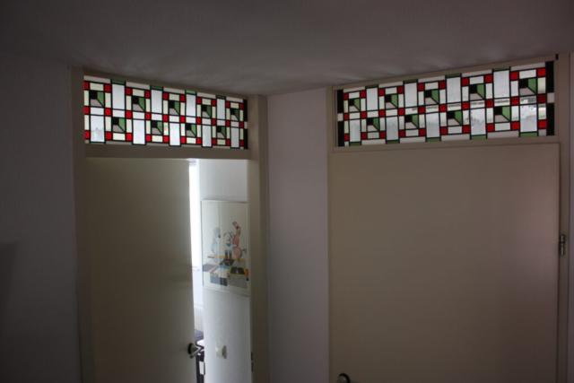 Glas in Lood Bovenlicht in ons atelier gemaakt