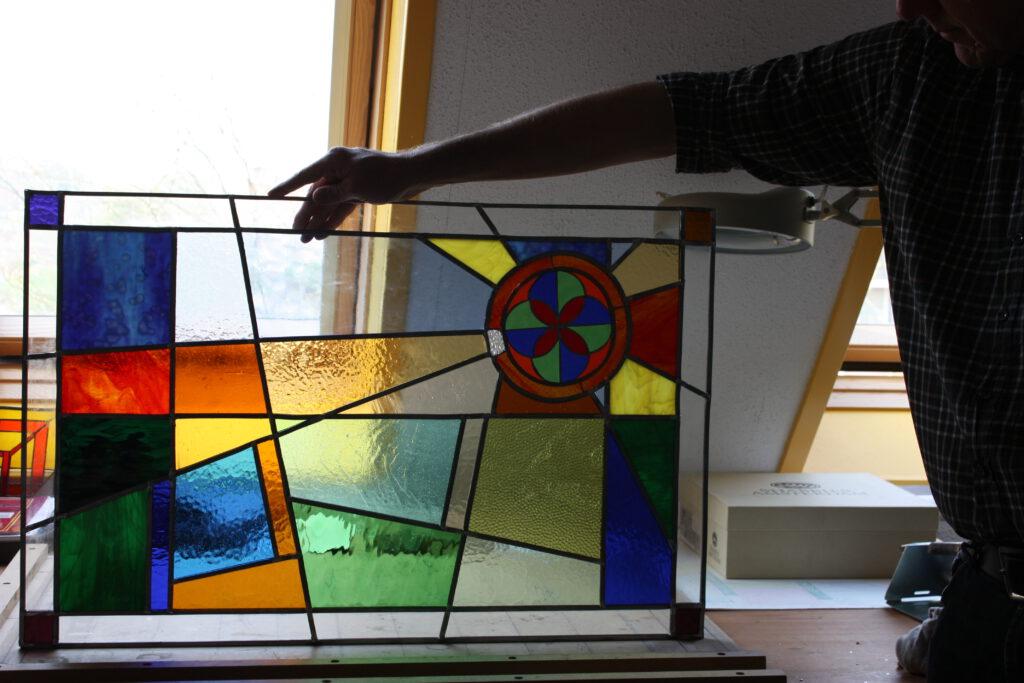 Door cursisten gemaakte Glas in  Lood panelen. Opleiding Glas in Lood Steenwijk